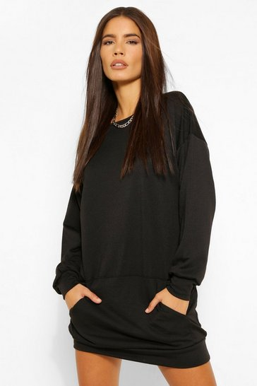 Black Soft Loopback Kanga Pocket Sweat Dress