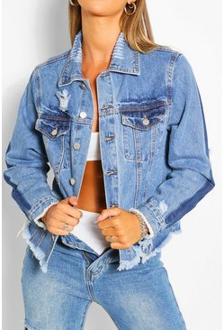 Mid blue Contrast Distressed Denim Jacket
