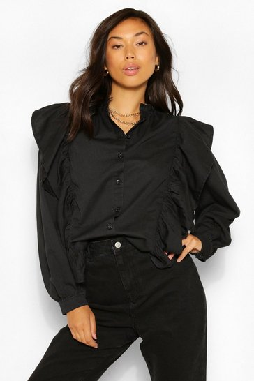 Black Denim Ruffle Puff Sleeve Shirt