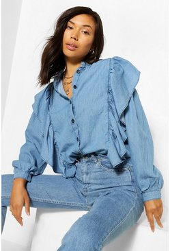 Mid blue blue Denim Ruffle Puff Sleeve Shirt