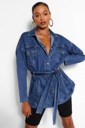 Mid blue Denim Longline Oversized Belted Jacket