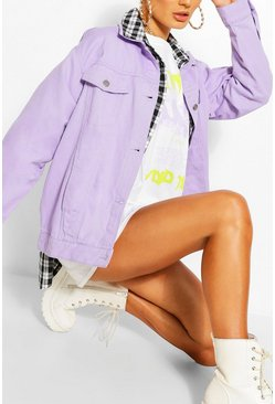 Lilac Oversized Denim Jacket
