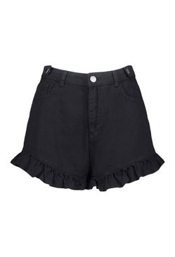Black Ruffle Hem Denim Short