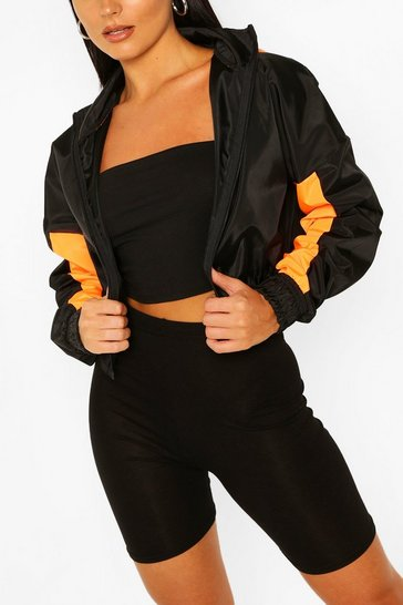 Orange Hooded Panelled Crop Windbreaker