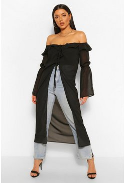 Black Chiffon Off The Shoulder Ruffle Detail Kimono