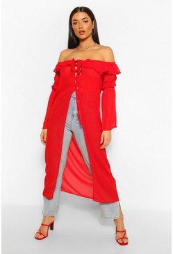Red Chiffon Off The Shoulder Ruffle Detail Kimono