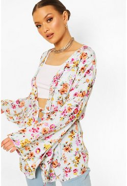 Cream Floral Wide Sleeve Belted Kimono