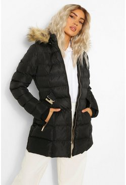 Black Faux Fur Trim Hooded Belted Puffer Coat