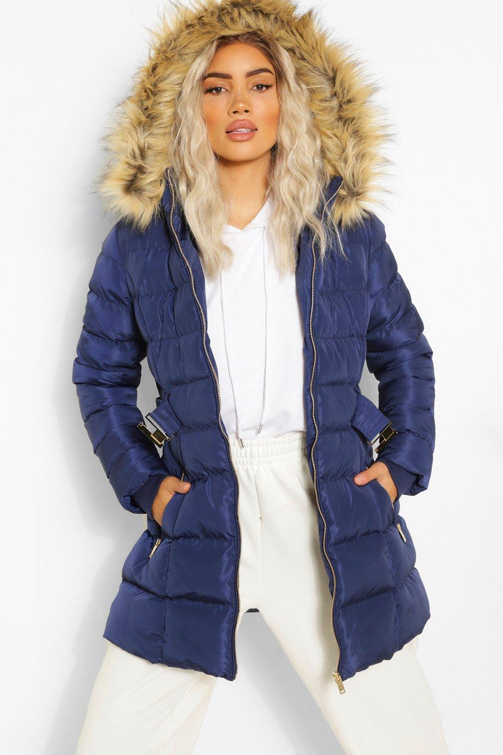 COATS & JACKETS Faux Fur Trim Hooded Belted Puffer Coat