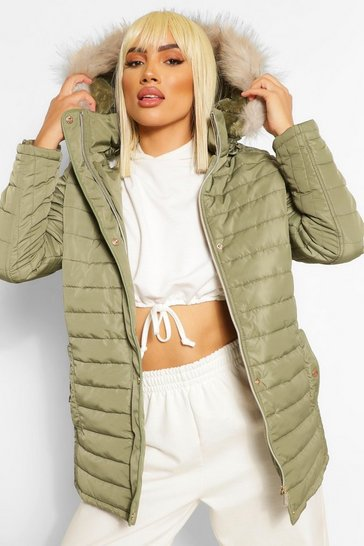 Khaki Faux Fur Trim Hooded Belted Puffer Coat
