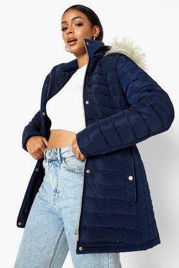 Navy Faux Fur Trim Hooded Belted Puffer Coat