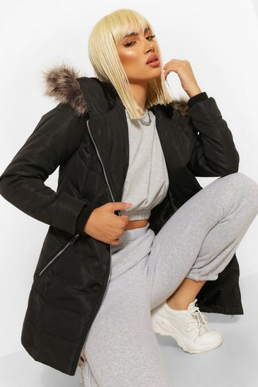 Black Faux Fur Trim Hooded Zip Detail Puffer Coat