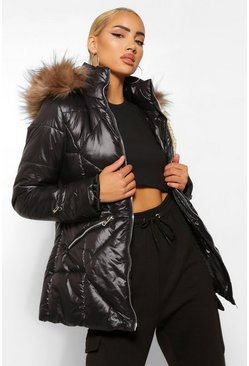 Black Faux Fur Trim Hooded Quilted Puffer Coat