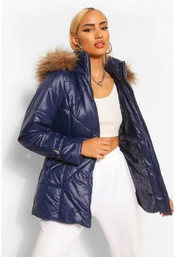 Navy Faux Fur Trim Hooded Quilted Puffer Coat