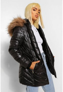 Black High Shine Faux Fur Trim Longline Puffer Coat