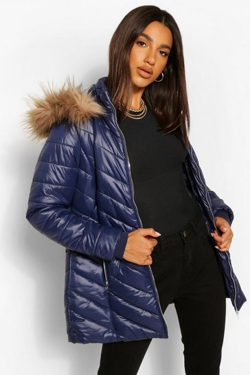 Navy High Shine Faux Fur Trim Longline Puffer Coat