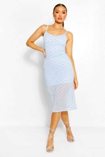 Blue Mesh Polka Dot Midi Slip Dress