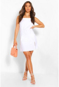 White Cotton Strappy Square Neck Shift Dress