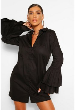Black Cotton Ruffle Cuff Shirt Dress