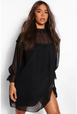 Black Dobby High Neck Ruffle Detail Shift Dress
