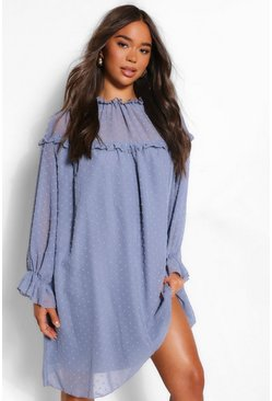 Blue Dobby High Neck Ruffle Detail Shift Dress
