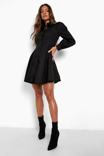 Black Cotton Balloon Sleeve Pleat Detail Shirt Dress
