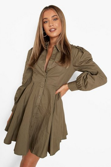 Khaki Cotton Balloon Sleeve Pleat Detail Shirt Dress