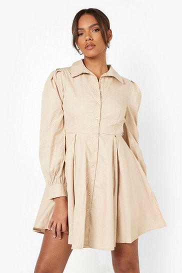 Stone beige Cotton Balloon Sleeve Pleat Detail Shirt Dress