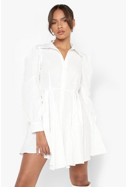 White Cotton Balloon Sleeve Pleat Detail Shirt Dress