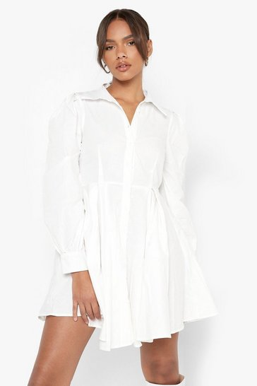 White Cotton Balloon Sleeve Pleat Detail Shirt Dress