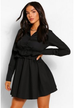 Black Cotton Ruffle Waist Long Sleeve Shirt Skater Dress