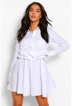 White Cotton Ruffle Waist Long Sleeve Shirt Skater Dress