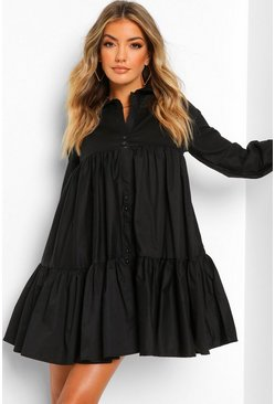 Black Cotton Tiered Shirt Dress