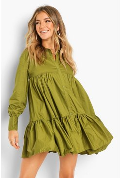 Olive green Cotton Tiered Shirt Dress