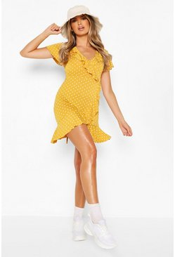 Mustard yellow Polka Dot Wrap Front Ruffle Tea Dress