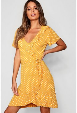 Mustard Polka Dot Wrap Front Ruffle Tea Dress
