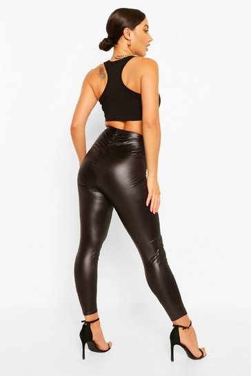Black Leather Look Ruched Bum Legging