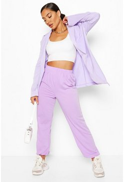 Lilac Elasticated Waist Relaxed Loopback Joggers