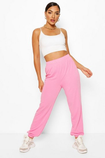 Powder pink pink Elasticated Waist Relaxed Loopback Joggers