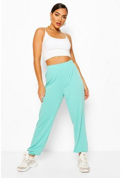 Turquoise blue Elasticated Waist Relaxed Loopback Joggers