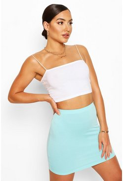 Bright blue blue Elasticated Waist Loopback Mini Skirt