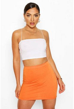 Orange Elasticated Waist Loopback Mini Skirt