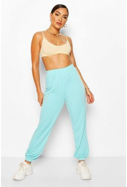 Bright blue Elasticated Waist Relaxed Loopback Joggerss