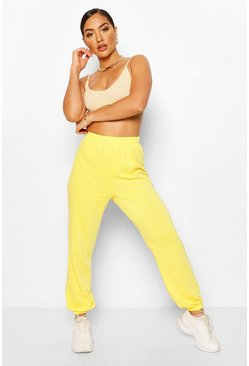 Yellow Elasticated Waist Relaxed Loopback Joggerss