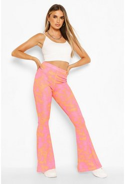 Bright Tie Dye Ribbed Jersey Flares , Orange