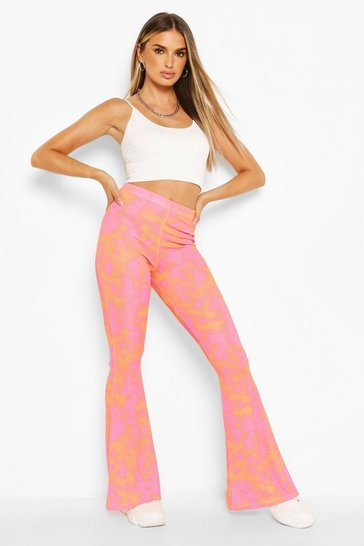 Orange Bright Tie Dye Ribbed Jersey Flares