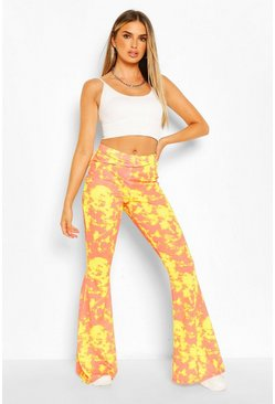 Yellow Bright Tie Dye Ribbed Jersey Flares