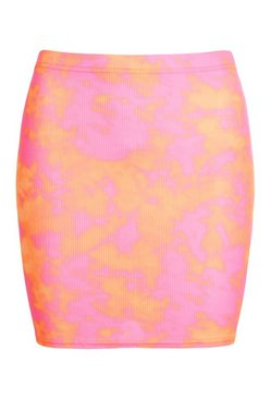 Orange Bright Tie Dye Ribbed Mini Skirt