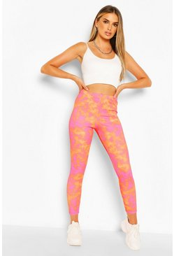 Orange Bright Tie Dye High Waist Ribbed Leggings
