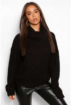 Black Roll Neck Textured Yarn Jumper